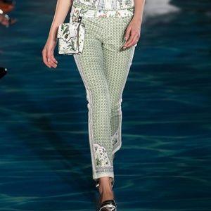 Tory Burch size 28 pants green pattern trousers